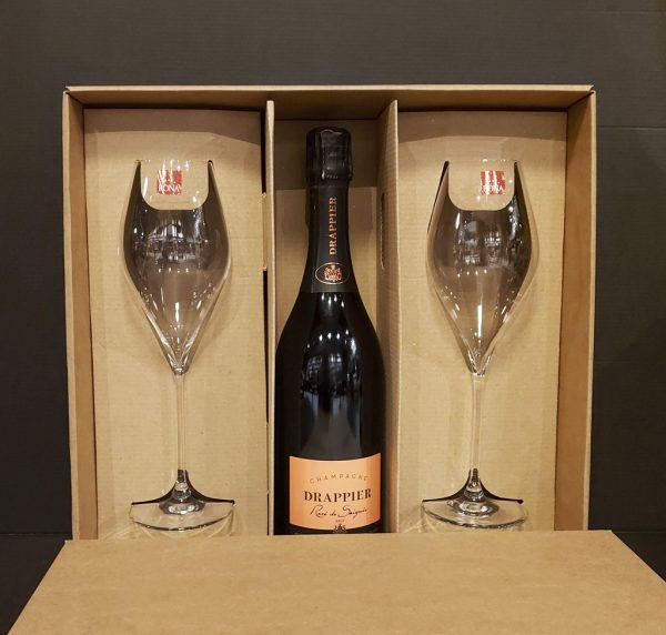Darčekový Set DRAPPIER – Rosé Champagne Brut + 2 Pohare, vinotéka bar Sunnywines Bratislava Petržalka, bublinkové víno, darček pre muža ženu, eshop